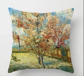 Van Gogh painting cushion cover 梵高油畫桃花樹咕𠱸套