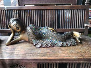 vintage 30 inches  Lying Down Buddha  solid wood heavy