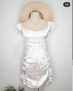 White silk ruched dress