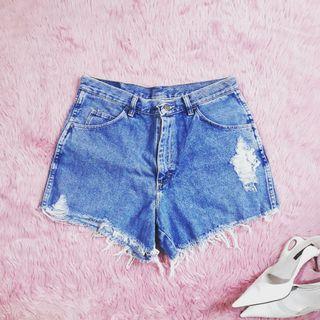 WRANGLER Cut Off Denim Shorts UPCYCLED/DIY