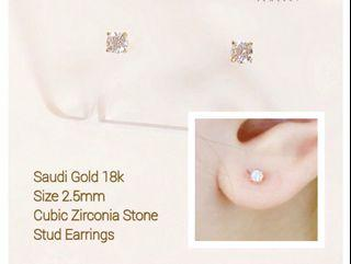 18K Gold Stud Earrings PAWNABLE for Babies or Adult Layering