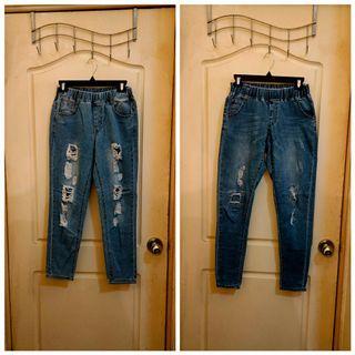 鬆緊腰刷破寬鬆男友褲/牛仔褲2件一組賣