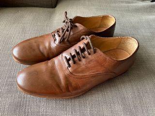 咖啡色皮鞋西班牙製41碼真皮皮鞋休閒皮鞋
