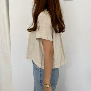 韓妞棉麻短袖上衣短版襯衫