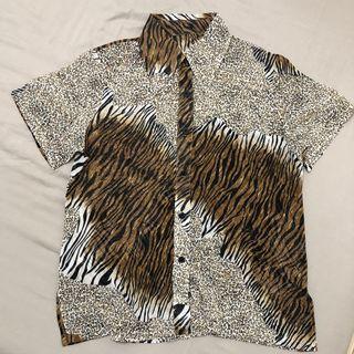豹紋透膚短袖襯衫