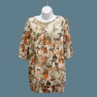 絲質印花五分袖襯衫#洋裝