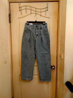 全新高腰復古打摺牛仔寬褲