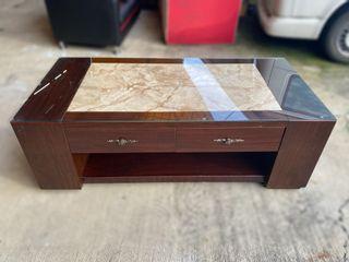 大慶二手家具 胡桃兩抽拉門茶几(含玻)/客廳桌/和室桌/沙發桌/大茶几/電視櫃