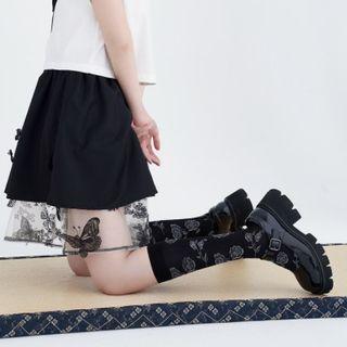 暗黑羅莉塔玫瑰為透膚中筒襪 黑色中筒透膚襪 玫瑰印花小腿襪 個性穿搭 百搭單品 宮廷風長襪 AC171