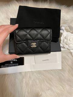 真品 Chanel 黑色 荔枝金釦 牛皮 雙層 卡包 零錢包 短夾