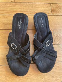 Black Comfort Plus Heeled Sandals Size 8.5