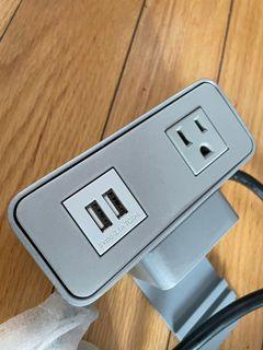 Brand New Grey Extension Cord with Two USB ports