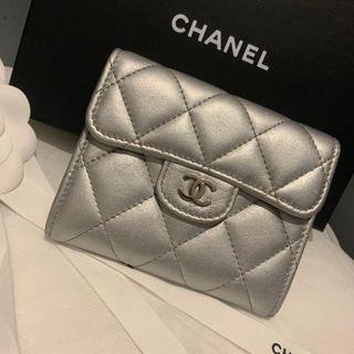 Chanel 香奈兒 羊皮雙層卡包 零錢包 銀配銀釦