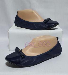 CHANEL Blue Stretchy Ballerina Flats Size 38