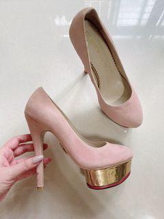 近全新現貨Charlotte Olympia粉色麂皮金邊防水台超高跟鞋