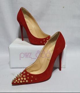 CHRISTIAN LOUBOUTIN Red Suede Spiky Stiletto Heels Size 37 1/2