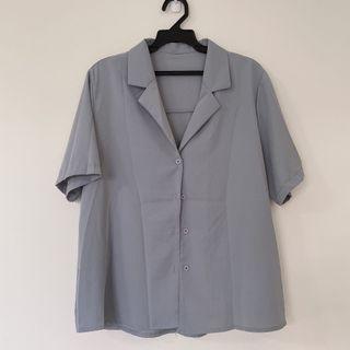 全新-Dong Studio polo短袖襯衫 灰藍色