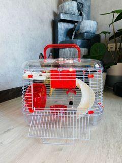 Hamster acrylic cage portable food bowl running wheel water dispenser platform ladder small animal bath sand bathroom house hideout bedding fence