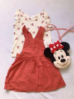 H&M rust-colored overall set