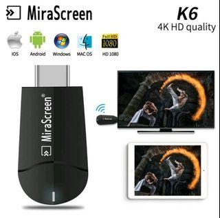 K6 Mira Screen 4K HDMI Miracast Dual Band 2,4 Ghz & 5 Ghz with support WiFi extender.