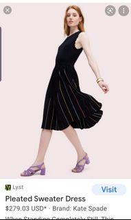 KATE SPADE new york black pleated fit and flare sweater midi dress