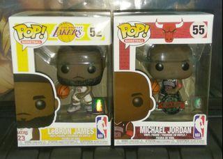 Lebron James White Jersey & Michael Jordan Black Jersey NBA Funko Pop Bundle