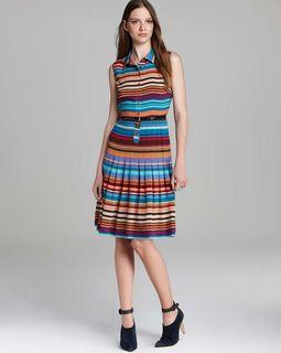 PLUS SIZE CALVIN KLEIN RAINBOW horizontal STRIPED DRESS