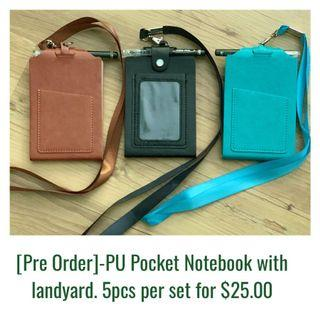 [Pre Order]-PU Pocket Notebook with landyard | 90mm x 130mm (70 sheets of Notes in each Book)