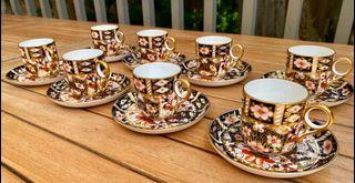 Set of eight  Royal Crown Derby Imari 2451 demi-tasse cups & saucers. Date marks are from early 1920's