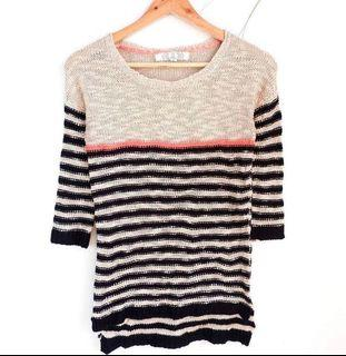 Super Pretty! Oatmeal, Poppy Pink, and Navy Blue French Knit Sweater