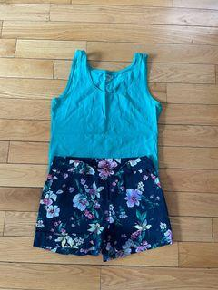Tank Top and Floral Shorts Size Medium