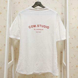 寬鬆日系無印風寬鬆微高領拉鍊字母短袖T恤上衣-白F