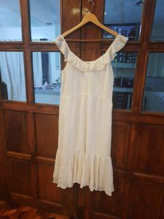 Tommy hilfiger ruffled cream white semi maxi dress