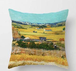 世界名畫梵高麥田雙面咕𠱸套 Van Gogh wheat field painting cushion cover