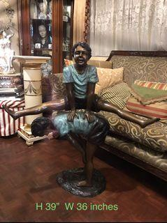 """vintage 39 inches Bronze Statue Boys Playing """"Luksong Baka"""""""