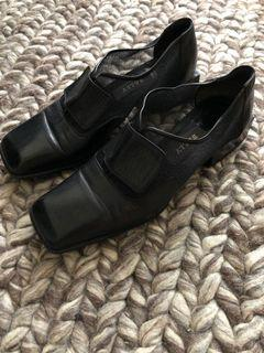 Vintage Bally Black Genuine Leather and Mesh Oxford Brogue Slip On Velcro Strap Square Toe Booties Size 5.5 5 1/2 35.5
