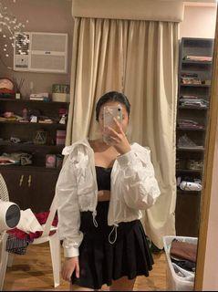Yesstyle Plain White Streetstyle Korean Trendy Cropped Hoodie Jacket