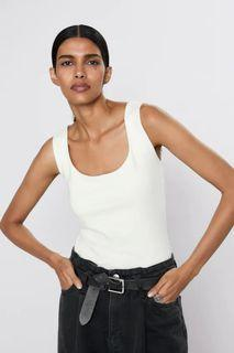Zara Wide Strap Stretch Top in Ecru