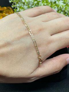 18K Gold - Figaro Link Chain Bracelet (B19)