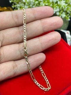 18K Gold - Figaro Link Chain Bracelet (B20)