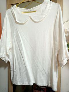 全新!白色可愛娃娃領五分袖上衣😍