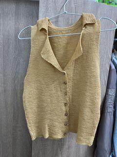 薑黃色編織背心