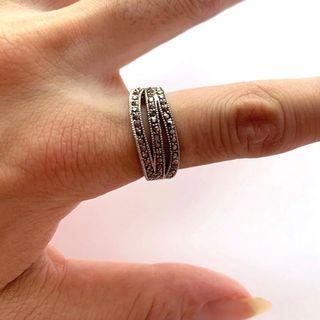 日本購入 925銀白簡約晶鑽多層開口戒指(不褪色)