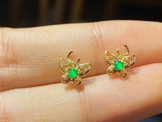鑲嵌新品耳環 清新小精緻翡翠