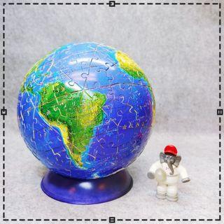 絕版 限定 日文版 日版 立體 地球拼圖 拼圖 地球 太空人 大象 變裝 換裝 人形 公仔 擺飾 玩具