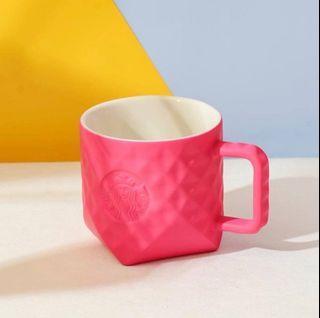 🆕 Starbucks China Limited Edition Barbie Pink Geometric Ceramic Mug