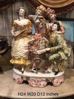 big 24 inches Capodimonte Porcelain Victorian Musicians made in Italy