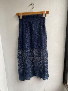 Blue lace mid skirt SM