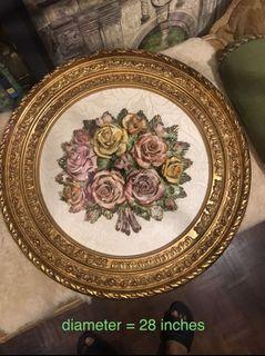 Big 28 inches Capodimonte Round Framed Porcelain Flowers  made in Italy