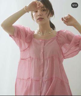 Discoat 粉紅排扣日系日牌蛋糕上衣